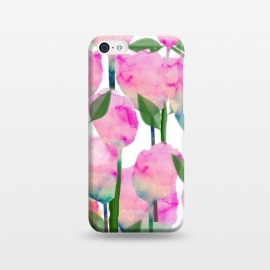iPhone 5C  Inspire by Uma Prabhakar Gokhale (watercolor, pattern, floral, flowers, nature, leaves, pink, blossom, bloom, green, orange, coral, exotic, botanical)