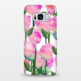 Galaxy S8+  Inspire by Uma Prabhakar Gokhale (watercolor, pattern, floral, flowers, nature, leaves, pink, blossom, bloom, green, orange, coral, exotic, botanical)