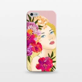 iPhone 5/5E/5s  Nature's Child  by Uma Prabhakar Gokhale (graphic design, watercolor, acrylic, floral, nature, portrait, people, woman, lady, girl, pretty, beautiful, feminine, blonde, golden, gold, blossom, bloom)