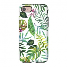 iPhone 8/7  Tropical Flora by Uma Prabhakar Gokhale (watercolor, pattern, tropial, nature, botanical, monstera, palm, banana leaves, banana leaf, green, blue, pink, leaves)