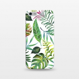 iPhone 5/5E/5s  Tropical Flora by Uma Prabhakar Gokhale (watercolor, pattern, tropial, nature, botanical, monstera, palm, banana leaves, banana leaf, green, blue, pink, leaves)