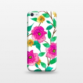 iPhone 5C  Floral Forever by Uma Prabhakar Gokhale (graphic design, pattern, watercolor, pink, blossom, nature, floral, flowers, bloom, botanical, exotic, green, yellow, colorful, bold, bright)