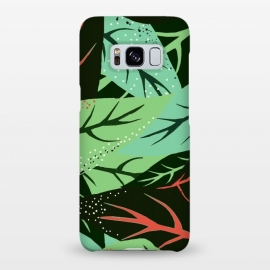 Galaxy S8+  Jungle v2 by Uma Prabhakar Gokhale (pattern, leaves, nature, green, greenery, dark, exotic, tropical, red, black)