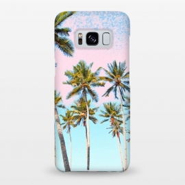 Galaxy S8+  Coconut Palms by Uma Prabhakar Gokhale (coconut, beach, palm, pastel, pink, green, tropical, nature, palm tree, palms, palm trees, botanical, summer, california)
