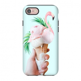 iPhone 8/7  Tropical Ice Cream by Uma Prabhakar Gokhale (collage, ice cream, tropical, palms, palm leaves, palm leaf, exotic, dessert, sweet, baby pink, green, cone, food, cold, flamingo, animal, birds)