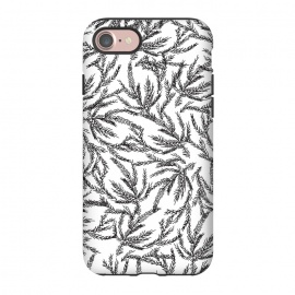 iPhone 8/7  Black Coral Ferns by Caitlin Workman (Coral, ocean, sea, water,travel, winter, spring, summer, ferns,leaves, trees, nature, illustration,drawing, style, fashion)