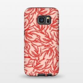 Galaxy S7  Red and Pink Coral Ferns by Caitlin Workman