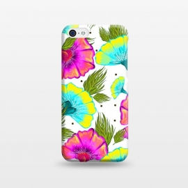 iPhone 5C  Ecstatic Floral by Uma Prabhakar Gokhale (graphic design, pattern, nature, floral, flora, tropical, bold, colorful, bloom, blossom, leaves, botanical, exotic, flowers, pink, blue, green, white, polka dots)