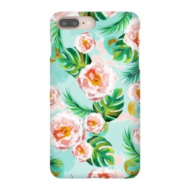 iPhone 8/7 plus  Blessing by  (graphic design, watercolor, pattern, blush, white, pink, tropical, teal, blue, green, monstera, tropicalroses, floral, flowers, nature, blossom, bloom, cute, pretty, palm)
