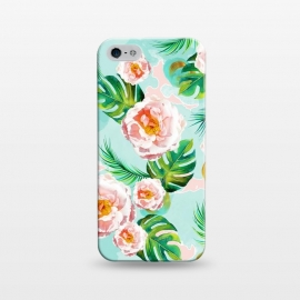 iPhone 5/5E/5s  Blessing by Uma Prabhakar Gokhale (graphic design, watercolor, pattern, blush, white, pink, tropical, teal, blue, green, monstera, tropicalroses, floral, flowers, nature, blossom, bloom, cute, pretty, palm)