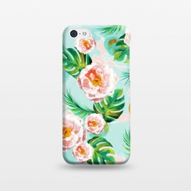 iPhone 5C  Blessing by Uma Prabhakar Gokhale (graphic design, watercolor, pattern, blush, white, pink, tropical, teal, blue, green, monstera, tropicalroses, floral, flowers, nature, blossom, bloom, cute, pretty, palm)