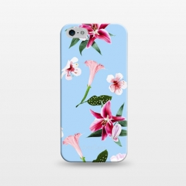 iPhone 5/5E/5s  Oenomel by Uma Prabhakar Gokhale (graphic design, pattern, floral, nature, pink, blossom, blush, green, blue, bloom, botanical, exotic, tropical, baby pink)