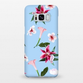 Galaxy S8+  Oenomel by Uma Prabhakar Gokhale (graphic design, pattern, floral, nature, pink, blossom, blush, green, blue, bloom, botanical, exotic, tropical, baby pink)