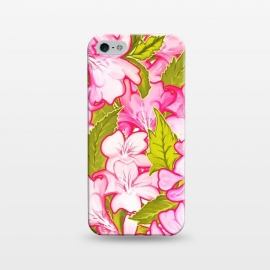 iPhone 5/5E/5s  Pink Wonder by Uma Prabhakar Gokhale (acrylic, pattern, nature, floral, pink, green, olive green, exotic, tropical, blossom, bloom, petals)