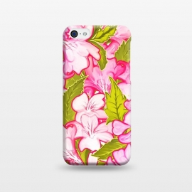 iPhone 5C  Pink Wonder by Uma Prabhakar Gokhale (acrylic, pattern, nature, floral, pink, green, olive green, exotic, tropical, blossom, bloom, petals)