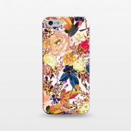 iPhone 5/5E/5s  Rustic Floral by Uma Prabhakar Gokhale (graphic design, pattern, realistic, floral, nature, rustic, blossom, bloom, gold, rose, roses, baby pink, navy blue, royal blue, exotic)