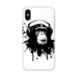 iPhone X  Monkey Business by Nicklas Gustafsson (monkey,chimp,ape,chimpanzee,animal,butterflies,butterfly,music,headphones,spatter,graffiti)