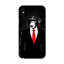 iPhone X  Domesticated Monkey by Nicklas Gustafsson (monkey,ape,chimp,chimpanzee,suit,tie,red,office,man,modern,worker,funny,cool,animal)