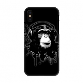iPhone X  Monkey Business - Black by Nicklas Gustafsson (chimp,monkey,chimpanzee,ape,animal,music,headphones,butterflies,butterfly,spatter,graffiti)