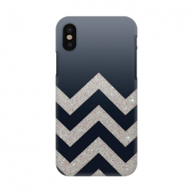 iPhone X  Chevron Block Silver Grey by Monika Strigel ()