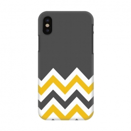 iPhone X  Color Blocked Chevron Mustard Gray by Josie Steinfort  ()