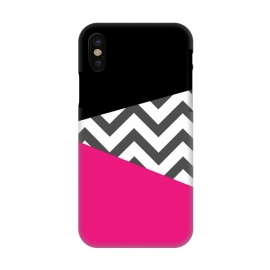 iPhone X  Color Blocked Chevron Black Pink  by Josie Steinfort  ()