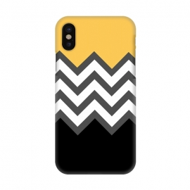 iPhone X  Color Blocked Chevron Black Yellow by Josie Steinfort  ()