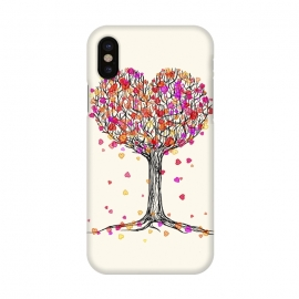 iPhone X  Love in the Fall Heart Tree Illustration by Micklyn Le Feuvre ()