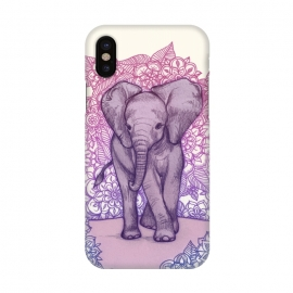 iPhone X  Cute Baby Elephant in pink purple and blue by Micklyn Le Feuvre ()
