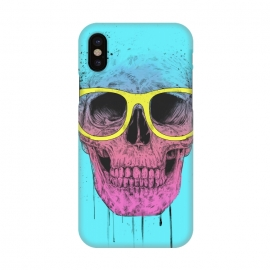 iPhone X  Pop Art Skull With Glasses by Balazs Solti ()