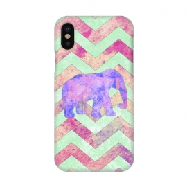 iPhone X  Elephant Mint Green Chevron Pink Watercolor by Girly Trend ()
