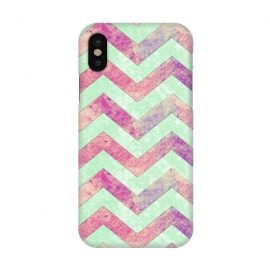 iPhone X  Mint Pink Watercolor Chevron by Girly Trend ()