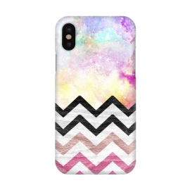iPhone X  SC Watercolor Nebula Space Pink ombre Wood Chevron by Girly Trend ()