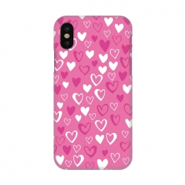 iPhone X  Pink Lovehearts by  (Pink,Hearts,loveheart,valentines,romance)