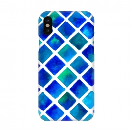 iPhone X  Geo Blue by Amaya Brydon (blue,squares,ocean,geometric)
