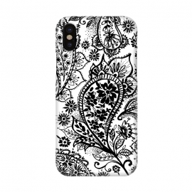 iPhone X  Ink paisley by Laura Grant (paisley,blackandwhite,pattern)