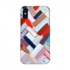 iPhone X  Colorful Chevron by Ann Marie Coolick (abstract painting,modern,colorful,chevron,red,purple,neutral,pop art)