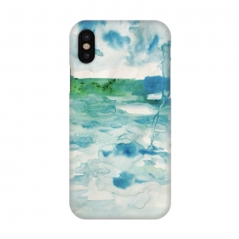 iPhone X  Miami Beach Watercolor #6 by ANoelleJay (blue,clouds,rain,sky,ocean,beach,miami beach,miami,vacation,travel)