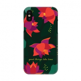 iPhone X  Midnight Flowers - Green by Stefania Pochesci (Floral,pattern,inspirational quote,green,woods,midnight,nocturne,illustration)