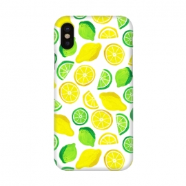 iPhone X  painted lemon and limes by Laura Grant (lemon,lime,fruit,tropical,summer)