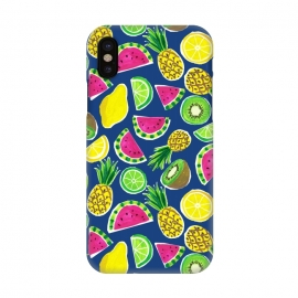 iPhone X  painted fruit salad by Laura Grant (fruit salad,fruit,watermelon,pineapple,kiwi,tropical,lemon,lime,summer)