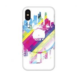 iPhone X  Urban Vinyl Colorful by  (Vinyl,Turntable,city,town,urban,modern,colorful,DJ,Deejay,techno,deep,house,dub,dubstep,DNB,sound,audio,club,clubber)