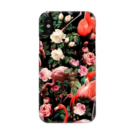 iPhone X  Floral and Flemingo Pattern by Burcu Korkmazyurek