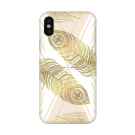 iPhone X  Gold Feathers by