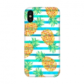 iPhone X  Pineapple Sea Stripes by Amaya Brydon