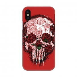 iPhone X  Skull Roses by Branko Ricov
