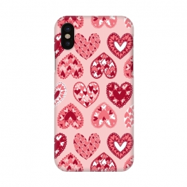 iPhone X  Pink Papercut Hearts by Rhiannon Pettie (Pink,Papercut,Hearts,Love)