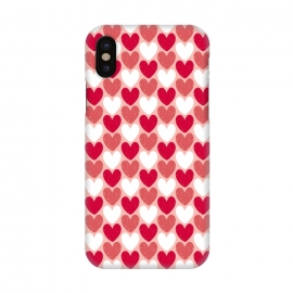 iPhone X  Red Hearts by Rhiannon Pettie (hearts,heart,texture,red)