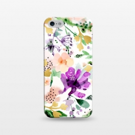 iPhone 5/5E/5s  Violet by Uma Prabhakar Gokhale (watercolor, pattern, violet, purple, floral, flowers, blossom, tropical, exotic, gold, golden, faux gold, bloom, botanical, nature, blush)