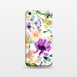 iPhone 5C  Violet by Uma Prabhakar Gokhale (watercolor, pattern, violet, purple, floral, flowers, blossom, tropical, exotic, gold, golden, faux gold, bloom, botanical, nature, blush)